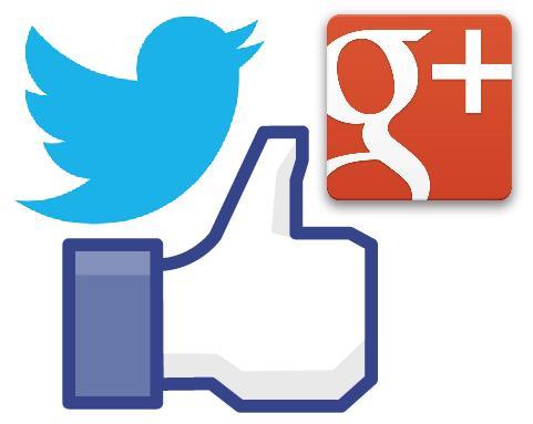 Les logos de Facebook, Twitter et Google +.