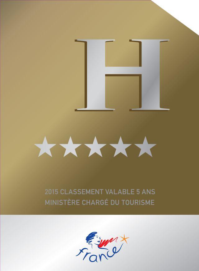 Panonceau des hôtels 5 étoiles et palace en France à partir de 2015