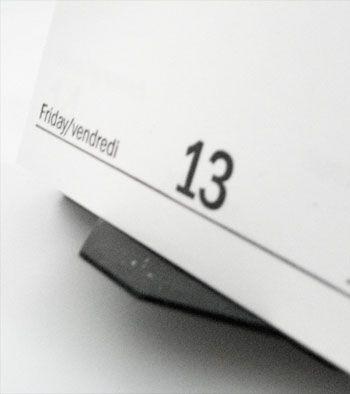 Calendrier à la date du vendredi 13.