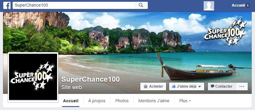 Page Facebook de SuperChance100.