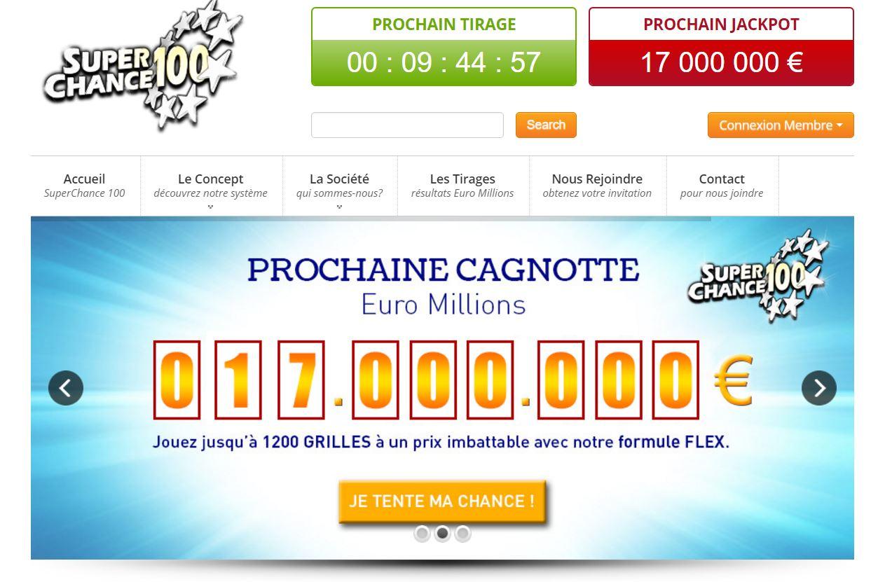 Annonce du jackpot Euromillions du jour sur SuperChance100.fr.