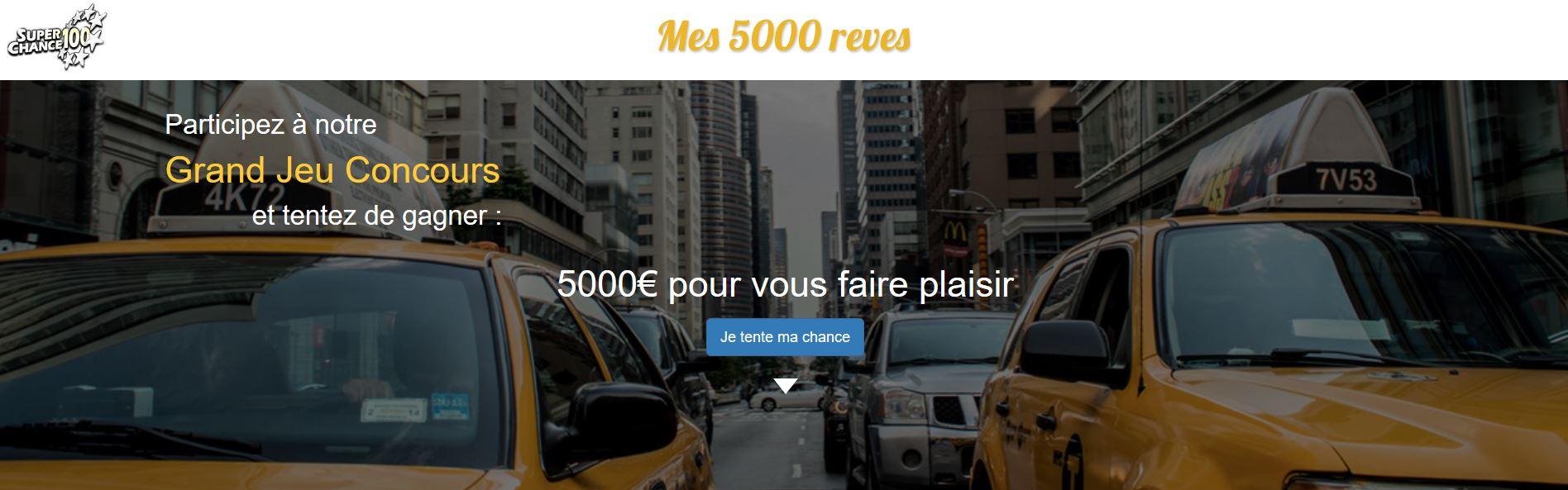 Capture d'écran de la page d'accueil du site mes5000rêves.fr.