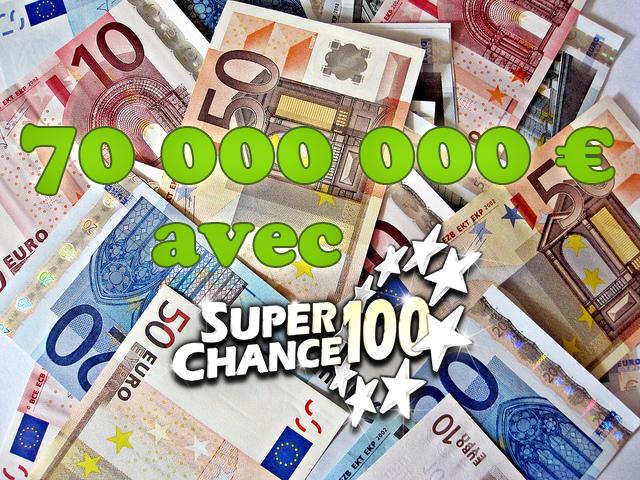 Des billets d'euros en pagaille sous l'inscription 70 millions avec SuperChance100
