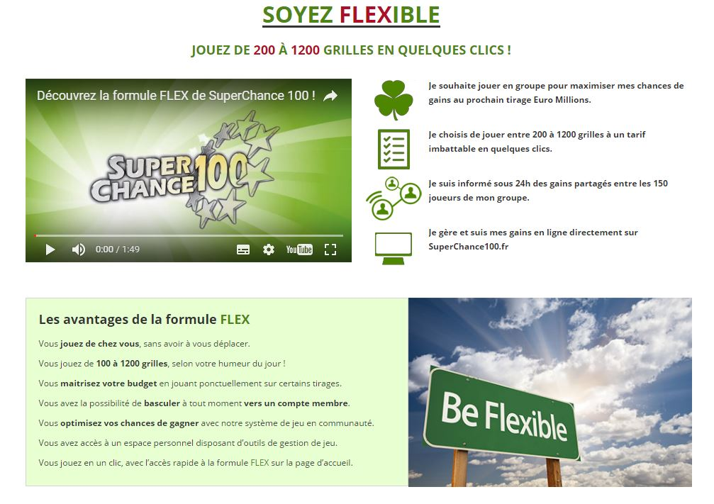 Capture d'écran de la page formule Flex, sur le site SuperChance100.fr
