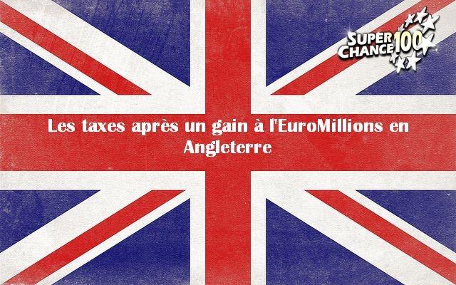"""Le drapeau de l'Angleterre avec l'inscription """"Les taxes après un gain à l'EuroMillions en Angleterre""""."""