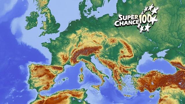 Carte d'Europe avec le logo SuperChance100.