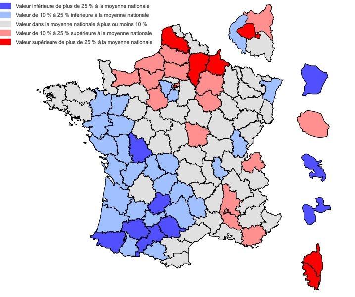 Cartographie des mises à la loterie des départements français