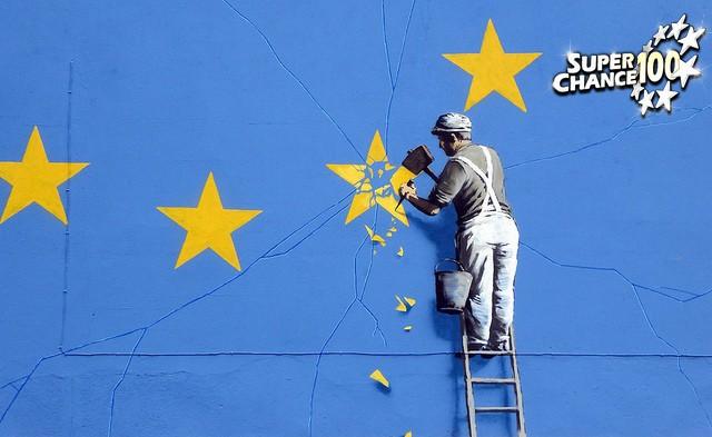 Illustration d'un artisan qui retire une étoile du drapeau européen après le Brexit.