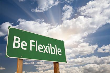 Panneau avec l'inscription Be Flexible