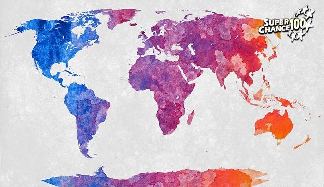 Carte du monde en dégradé de peinture acrylique.