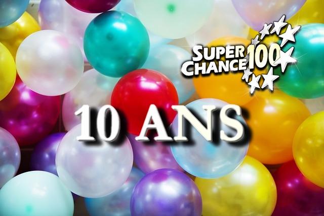 Une image pleine de ballons pour le dixième anniversaire de SuperChance100 !