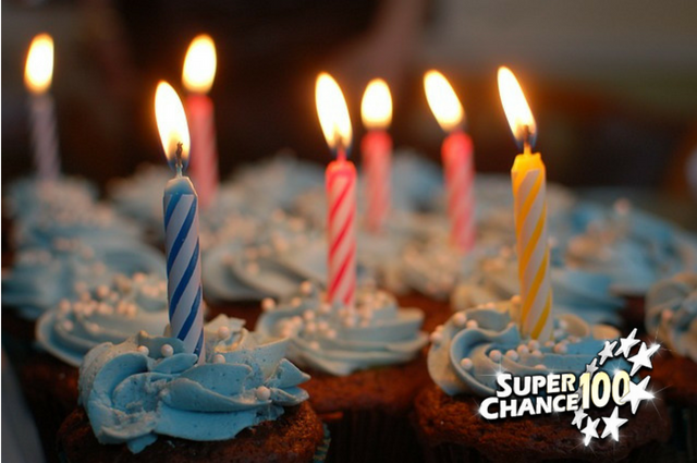 Cupcakes avec des bougies d'anniversaire allumées pour célébrer les dix ans de SuperChance100.
