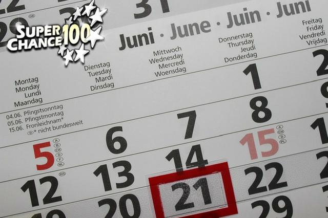 Zoom sur le mois de juin d'un calendrier.