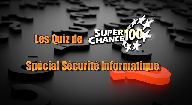 Le logo SuperChance100 entouré de points d'interrogations.