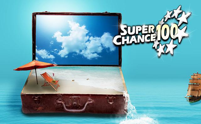 Partez en vacances avec la tombola SuperChance100.