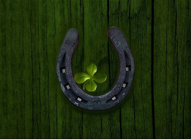 Un fer à cheval et un trèfle à quatre feuilles.