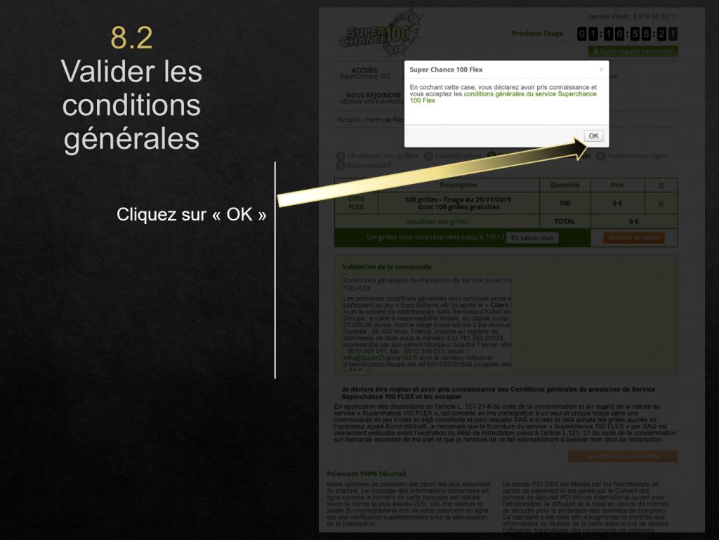 Suite du processus pour valider un code promo en achetant des grilles d'EuroMillions.