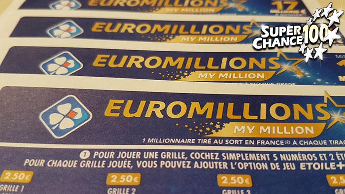 Des grilles d'EuroMillions.
