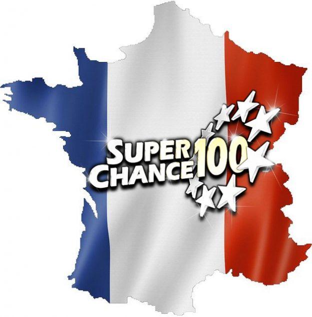 Carte de France aux couleurs du drapeau français avec le logo de SuperChance100.