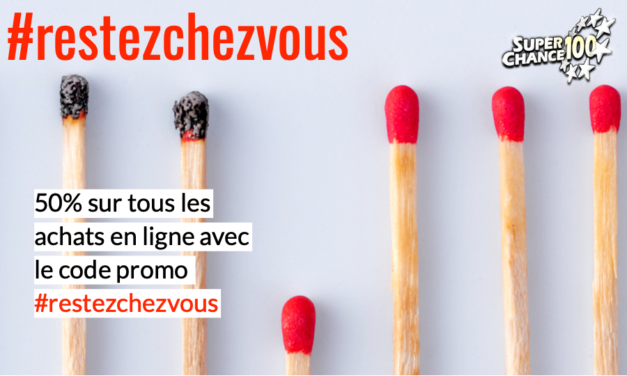 Pour vous permettre de continuer de participer aux prochains tirages d'EuroMillions, profitez de notre code promo #restezchezvous pour avoir 50% sur tous les achats en ligne sur https://www.superchance100.fr/cgi-bin/shopping.pl🍀