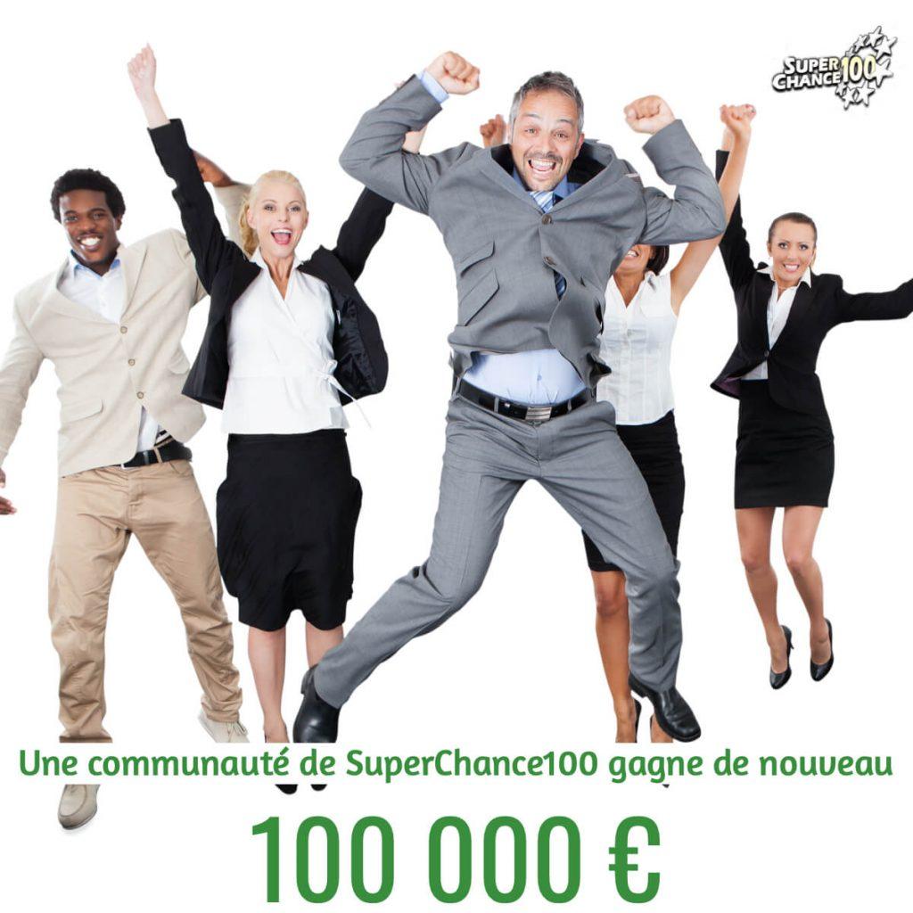Nouveau gain de 100000 euros pour communauté de SuperChance100 !